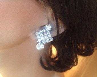 Fancy Rhinestone Chanton Clip Earrings – Glitzy 1950s Jewelry