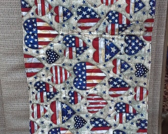 """Table Runner - Red, White And Blue Hearts 12"""" x 23"""""""