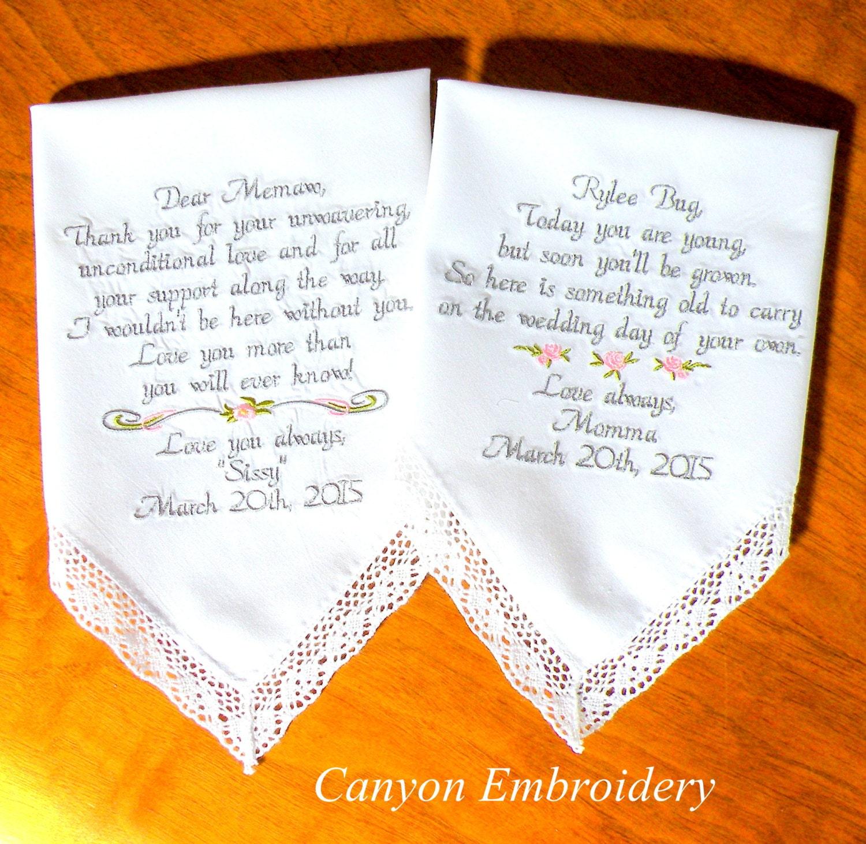 Wedding gift embroidered handkerchiefs flower girl