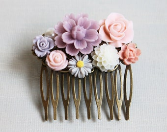 Matte Lilac, White, Light Pach, Pink, and Pearl Hair Comb. vintage style hair comb, bridesmaid hair comb, wedding hair accessory