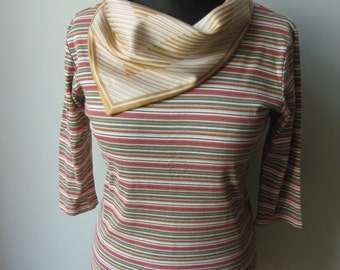 Size M, Striped Cowlneck Tshirt, Upcycled T Shirt, Vintage Scarf Tops, Cowl Neck Shirt, Orange, Green, Yellow, Repurposed Altered Clothing