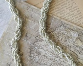 Silver Spiral Rope Seed Bead Necklace 18 inch