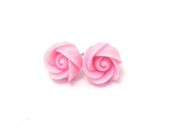 Pink Glitter Flower Earrings- Surgical Steel Post EarringsBlack Friday Sale 20% Off