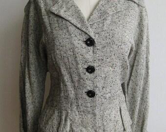 Vintage  50s Black & White Cotton Lightweight Summer Skirt Suit