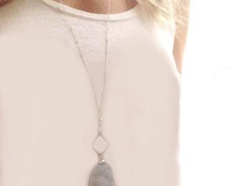 Silver Druzy Pendant Necklace, Silver necklace, Silver Pendant Necklace, Long Druzy Necklace, Beaded Necklace, Long Silver Necklace