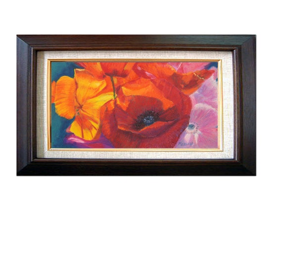 """Original Floral painting of poppies in oil pastel, """"Poppy Medley"""" 8x13 inch, art on paper, red and orange poppies"""