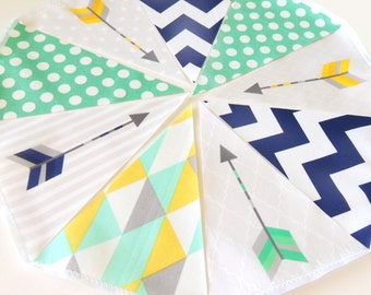 Arrow Banner, Fabric Bunting, Garland Flags, Wedding Party Banner, Mint, Yellow, Navy, Aztec Arrow Photo Prop, Baby Nursery, Birthday Decor