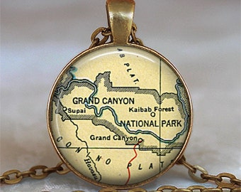 Grand Canyon map necklace, Grand Canyon map pendant, Grand Canyon necklace, Grand Canyon pendant, keychain