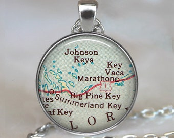 Florida Keys map pendant, Middle Keys map necklace, Marathon Key, Summerland Key, Big Pine Key keychain key chain