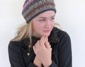 Slouch Beanie , Pink and black Hand Knit Hat , Winter hat slouchy beanie , Hand knit beret