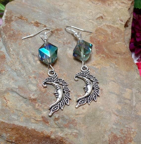 Blue Moon Earrings - Crescent Moon Earrings - Celestial Earrings
