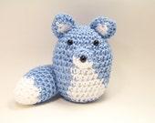 Fox Home Decor, Crochet Fox Animigurumi, Blue Fox Pincushion