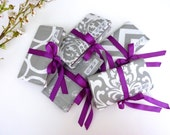 Gray and White Bridesmaid Gifts. Travel Jewelry Pouches. Monogrammed Jewelry Rolls. Jewelry Roll-Ups. Gray and Purple Bridemaid Gifts