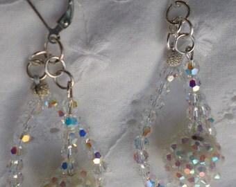 Swarovski Crystal Hoop and Rhinestone Ball Dangle Earrings