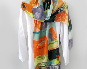 ART on a Scarf Hand-Painted 100% Crepe de Chine Silk
