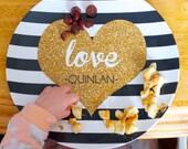 Personalized Melamine Glitter Heart Plate