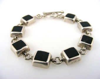 Vintage Onyx and Sterling Silver Link Bracelet Mexico 925 Black Squares Toggle Clasp 28 grams