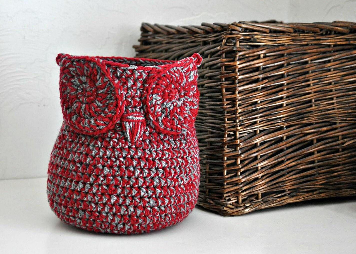 Crochet Yarn Holder : Custom Owl Basket Crocheted Bin Yarn Holder by AandBDesignStudio