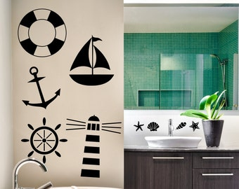 Nautical Vinyl Wall Decals - Light House Decal - Anchor Wall Decal - Sailboat Wall Stickers - Nautical Wall Décor - Nursery Room Decorations