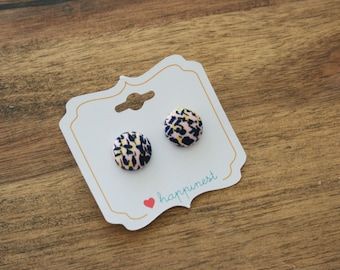 Fabric button earrings- abstract artistic painting