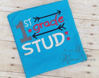 Back to School Embroidered Shirt, First Day of School, Boy, 1st Grade Stud, School Stud Shirt, Turquoise Toddler Shirt, Pre-k thru 6th grade