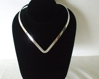 V Neck Choker , Silver - Necklace - Vintage - Gifts - #1311