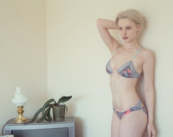 Handmade Lingerie Set 'Josephine' Triangle Bralette and Bikini Panties in Grey Peach Coral Floral and Mesh Handmade to Order