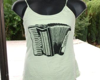 Accordion Tank - Light Green, Large Spaghetti Strap fitted print shirt - tshirt, music,  accordian, steampunk, punk silkscreen, musician