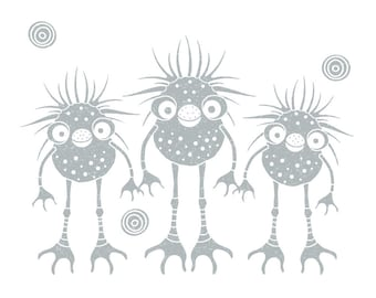 Cute monster family whimsical room decor, gray and white illustration, nursery wall art, kids room decor, wall decor, gray and white