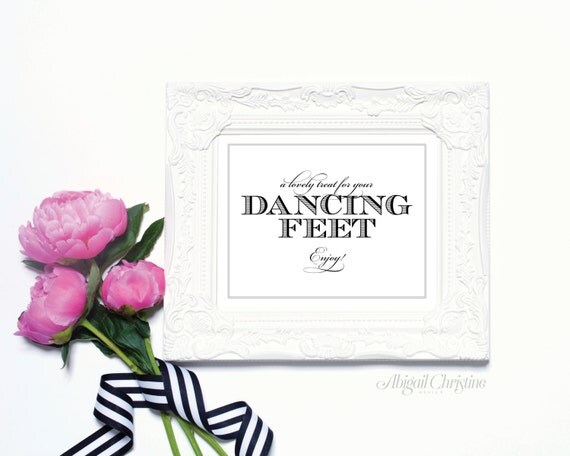 Dancing Feet - 8 x 10 Wedding Poster or Table Sign by Abigail Christine Design