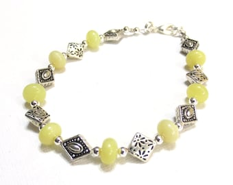Handmade Yellow Bracelet, Citrine Rondelles and Silver Diamonds, Medium Gemstone Bracelet, Yellow and Silver Beaded, One of a Kind Jewelry