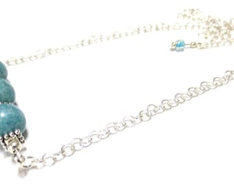 Light Blue Gemstone Necklace/ Powder Blue Jasper Necklace/20-Inch Round Link Silver Chain/Adjustable Necklace/Blue Beaded Necklace