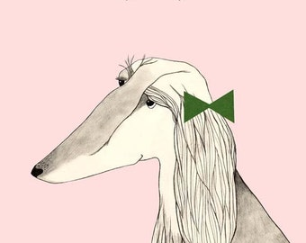 Afghan Hound with Green Bow