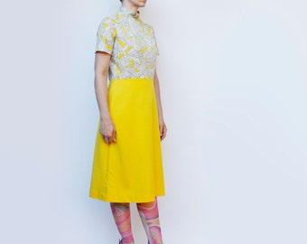 Vintage 60's Dress, yellow skirt, patterned top, abstract, Empress of Dallas - Medium