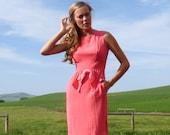 60s Hot Pink Nipped Waist Fitted Wiggle Sheath Dress xs s