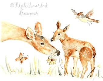 Woodland Nursery Art, Deer Print, Girls Nurser Print, Forest Print, baby girl gift, Forest Nursery, Deer Painting, Deer Nursery Art