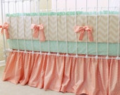 Custom Nursery including Peach and Mint Baby Girl Crib Bedding in 3-Piece Set - Bumper, Sheet, and Skirt for a Stunning Modern Design