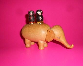 Elephant Bojesen Era Danish Modern Style -Black Americana Wooden S&P Toothpick Server