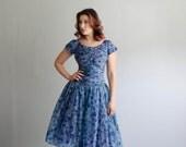 Vintage 1950s Party Dress - 50s Chiffon Dress - Summerwind Dress
