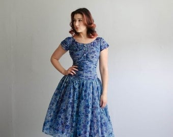 Vintage 1950s Party Dress - 50s Chiffon Dress - Summerwind Dress
