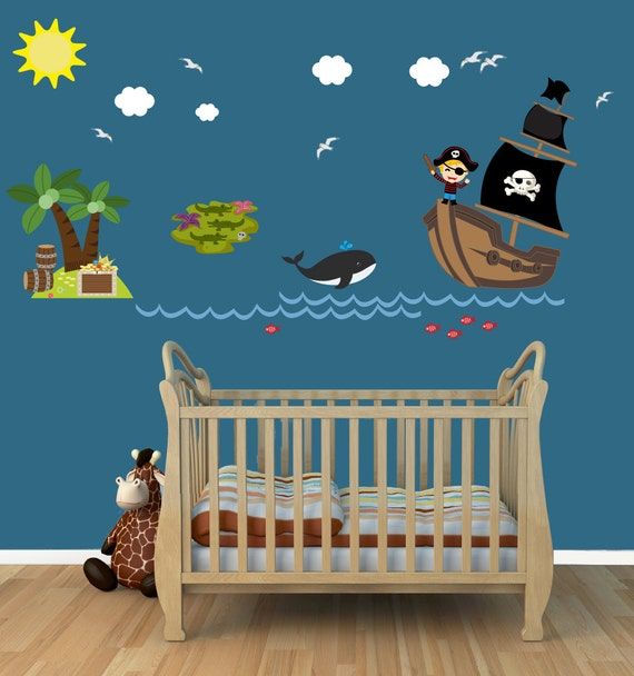 Pirate Ship Wall Decals for Kids by PlanetWallArt
