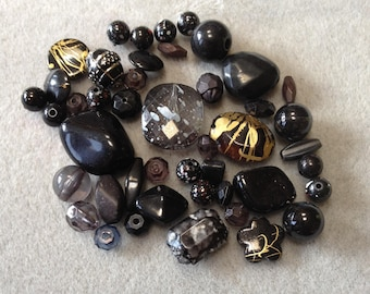 Midnight Smoke - Acrylic Bead Mix - 44 beads