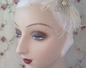 Silver french beaded flower clip and cruelty free feather fascinator in silver and ivory 1920's 1930's - crystal flora