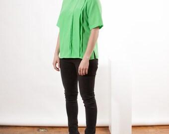 Neon Green Silky Tee / Pleated Green Blouse / Short Sleeve Top