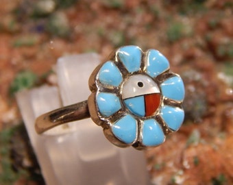 Turquoise Coral and Mother of Pearl Sterling Ring