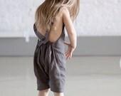 Linen romper Toddler romper Harem shorts with suspenders Unisex kids Harem jumpsuit