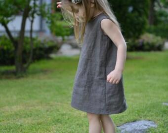 Girls summer dress Flower girls dress Taupe Linen dress Birthdays dress