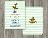 Mint Navy Gold Nautical Baby Shower Invitation
