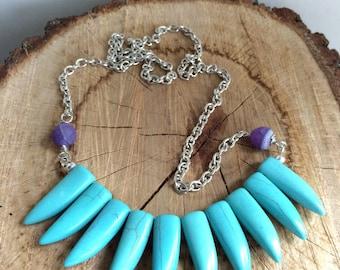 Blue stone spike necklace, tribal stone necklace, boho jewelry