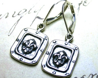 The Gothic Fleur-de-Lis Medallion Earrings - Vintage Euro-Style All Sterling Silver Earrings with Leverbacks